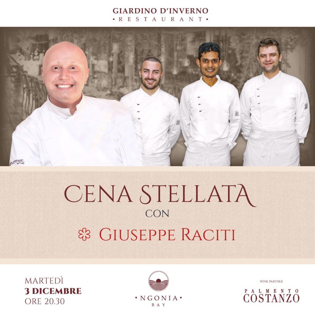 La stella Michelin Giuseppe Raciti a Milazzo per la prima cena stellata al Giardino d'inverno di 'Ngonia Bay | Sicilia da Gustare
