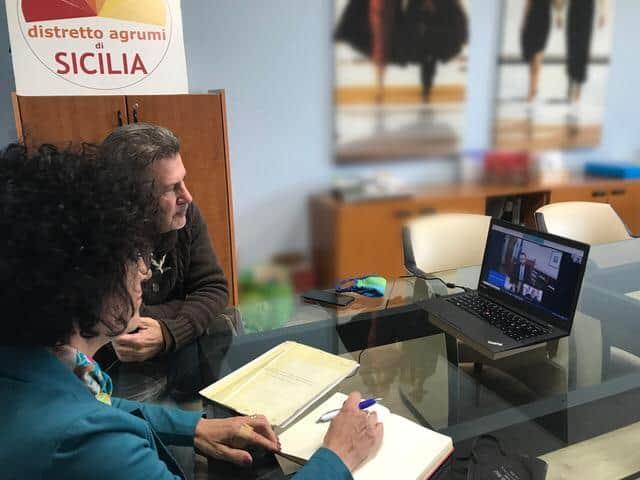 DAS, Il Distretto Agrumi di Sicilia incontra il Ministro dell'Agricoltura Stefano Patuanelli, foto 1 (sx Argentati e Ancona)